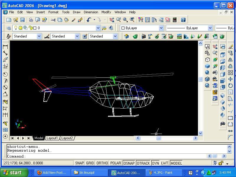helikopter autocad 3 dimensi