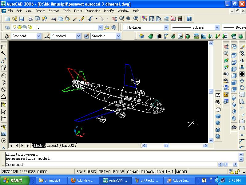 gambar pesawat terbang autocad 3 dimensi
