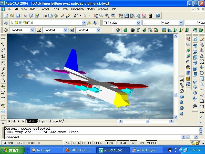 pesawat dengan baling baling autocad