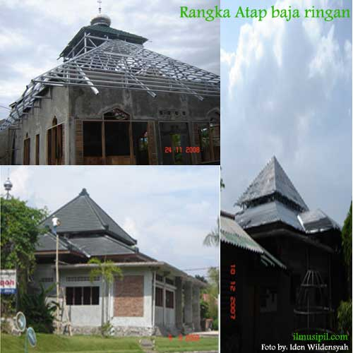 rangka atap masjid dengan struktur baja ringan