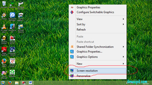screen resolution pada dekstop