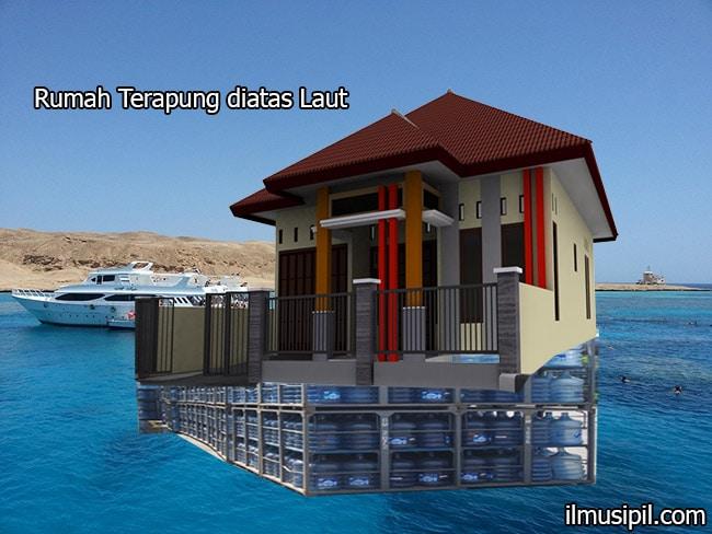 rumah terapung diatas laut